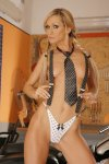 eva in a black miniskirt strips naked by a two tone road king 008.jpg