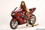 sanja matice in a black corsage strips naked on a red kawasaki zx9r 025.jpg